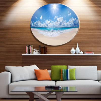 Designart Beautiful FLOWERS + LEAVES Beach Panorama Disc Seashore Metal Circle Wall Art