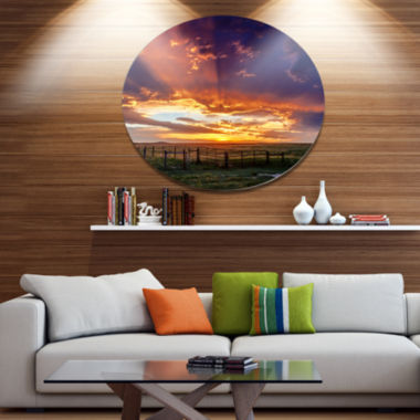 Designart Dramatic Sunset over Prairie Disc LargeLandscape Metal Circle Wall Art