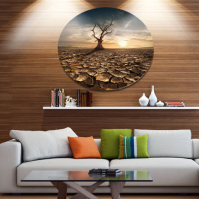 Designart Lonely Dead Tree in Cracked Land Disc Large Landscape Metal Circle Wall Art