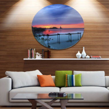 Designart Blue Sky and Waters Panorama Disc Seashore Metal Circle Wall Art