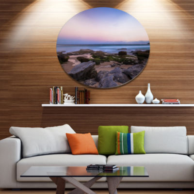 Designart Maroubra Beach at Sunset Panorama Disc Seashore Metal Circle Wall Art