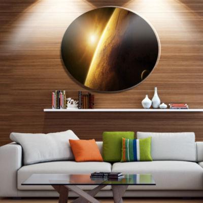 Designart Planet Mars Close up with Sunrise Disc Large Landscape Metal Circle Wall Art
