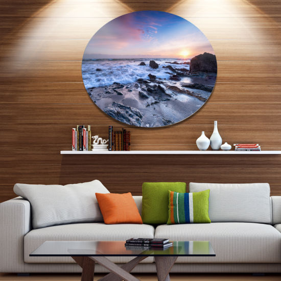 Designart Finnygook Beach in Cornwall at Sunset Disc Seashore Metal Circle Wall Art
