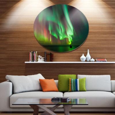Designart Green Northern Lights Aurora Disc LargeAbstract Metal Circle Wall Art
