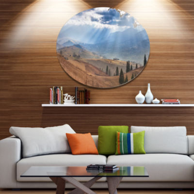 Designart Beautiful Mountain Village View Disc Large Landscape Metal Circle Wall Art