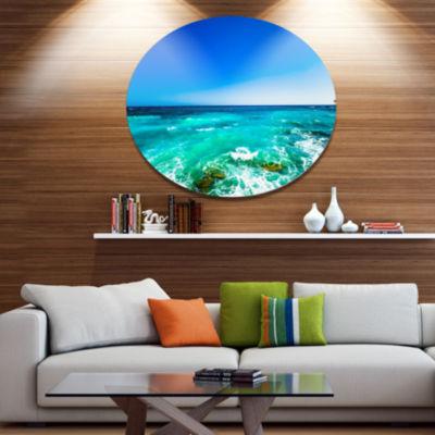 Designart Seashore with Clear Water and Sky Disc Seashore Metal Circle Wall Art