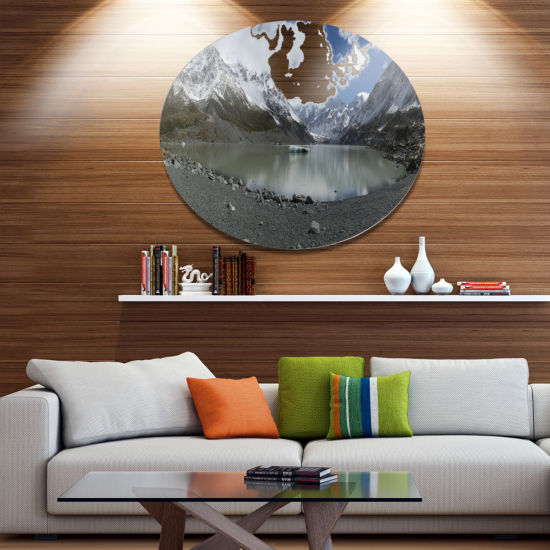 Designart New Zealand Mountains Panorama Disc Large Landscape Metal Circle Wall Art