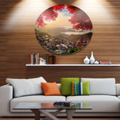 Designart Taiwan Township with Red Trees Disc Large Landscape Metal Circle Wall Art