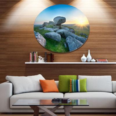 Designart Bodmin Moor Moorland in Cornwall Disc Large Landscape Metal Circle Wall Art