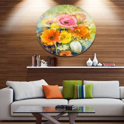 Designart White Gerbera Red Rose and Tulips Disc Floral Metal Circle Wall Art