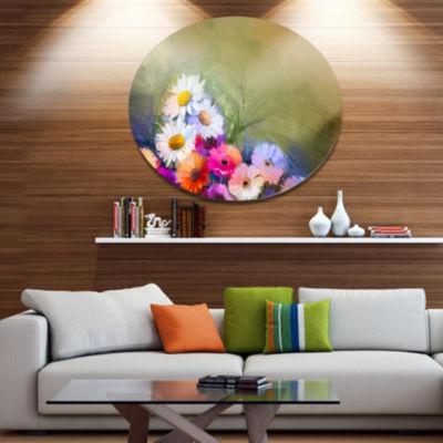 Designart White Sunflower and Gerbera Flowers DiscFloral Metal Circle Wall Art
