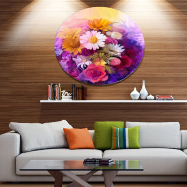 Designart Colorful Bouquet of Different Flowers Disc Floral Metal Circle Wall Art
