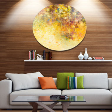 Designart White Flowers and Soft Color Leaves DiscFloral Metal Circle Wall Art