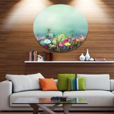 Designart Dandelion Poppy and Daisy Flowers Disc Floral Metal Circle Wall Art