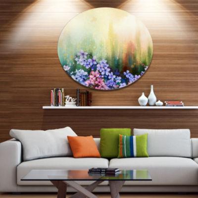 Designart Pink Sakura Flowers in Soft Color Disc Floral Metal Circle Wall Art