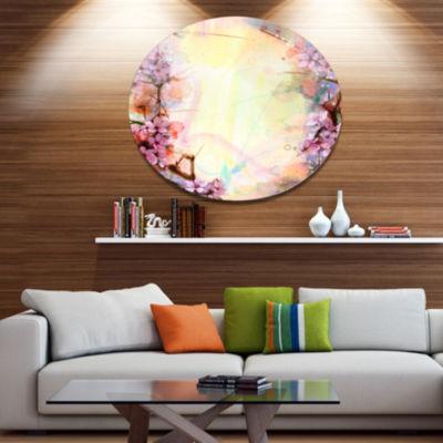 Designart Pink Sakura on Blurred Background Disc Floral Metal Circle Wall Art