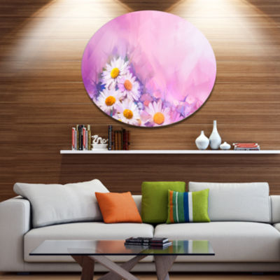 Designart Bouquet of White Gerbera and Daisy DiscFloral Metal Circle Wall Art