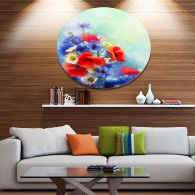 Designart Blue Cornflower and White Daisy Disc Floral Metal Circle Wall Art