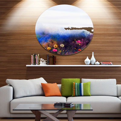 Designart Watercolor Painting Flower in Meadow Disc Floral Metal Circle Wall Art
