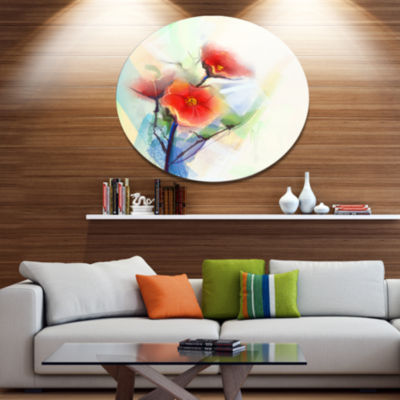 Designart Red Poppy Flowers on Grunge Back Disc Floral Metal Circle Wall Art