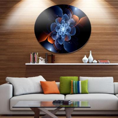 Designart Fractal Flower with Orange Flame Disc Floral Metal Circle Wall Art