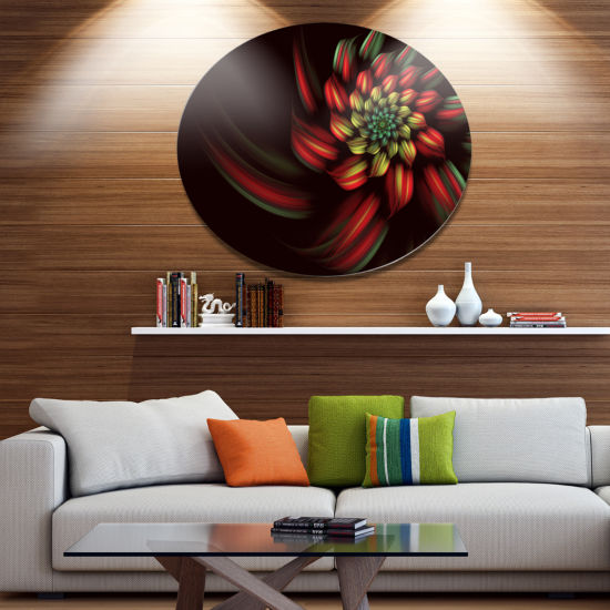 Designart Red Abstract Fractal Flower Spiral DiscFloral Metal Circle Wall Art