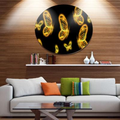 Designart Fractal Butterflies on Dark Background Disc Floral Metal Circle Wall Art