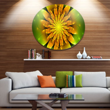 Designart Bright Yellow Fractal Flower on Green Disc Floral Metal Circle Wall Art