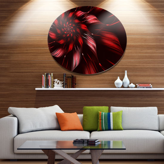Designart Multicolor Symmetrical Fractal Flower Disc Floral Metal Circle Wall Art