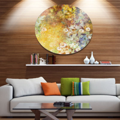 Designart Little Flowers with Soft Green Leaves Disc Floral Metal Circle Wall Art