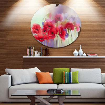 Designart Watercolor Red Poppy Flowers Painting Disc Large Floral Metal Artwork