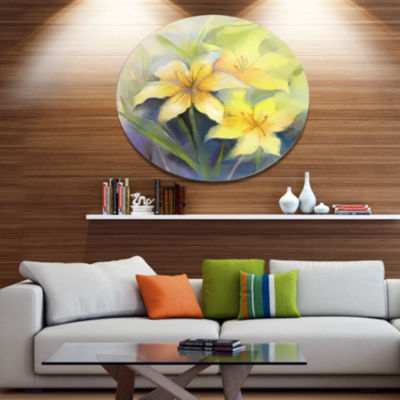Designart Watercolor Painting Yellow Lily Flower Disc Large Floral Metal Artwork