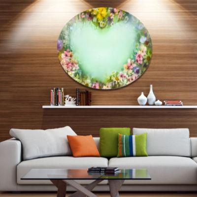 Designart Vintage Flowers with Heart Shape Disc Large Floral Metal Artwork