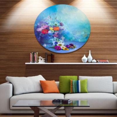 Designart Little Flowers on Blue Background Disc Large Floral Metal Artwork