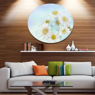 Designart White Gerbera Flowers on Light Blue DiscLarge Floral Metal Artwork