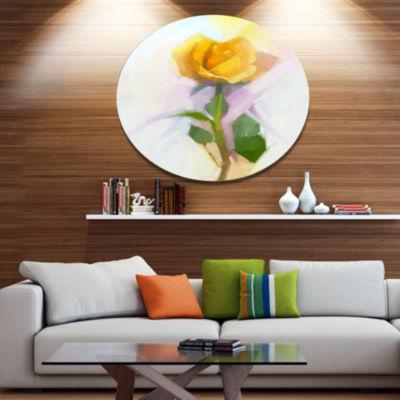 Designart Rose With Green Leaves Painting Disc Large Floral Metal Artwork