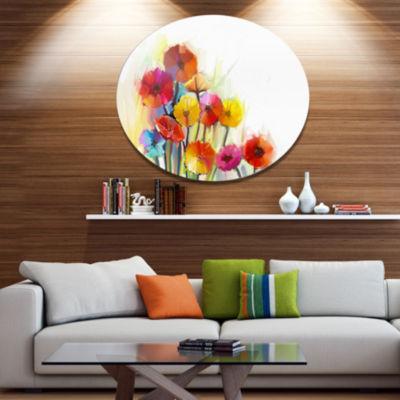 Designart Colorful Gerbera Flowers Watercolor DiscLarge Floral Metal Artwork