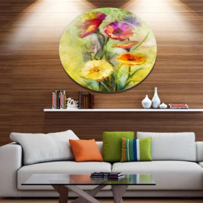 Designart Bouquet of Gerbera Flowers Watercolor Disc Large Floral Metal Artwork
