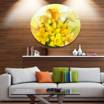 Designart Bouquet of Yellow Narcissus Flowers DiscLarge Floral Metal Artwork