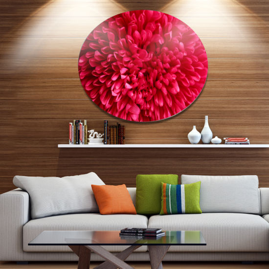 Designart Pink Aster Flower Petals Close up Disc Large Floral Metal Artwork