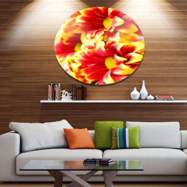Designart Red Yellow Flower Background Photo DiscLarge Floral Metal Artwork