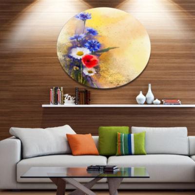 Designart Bouquet of Poppy Cornflower and Daisy Disc Large Floral Metal Artwork
