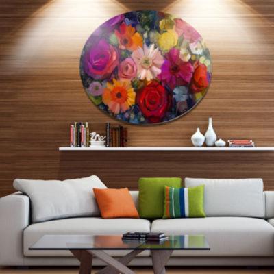 Designart Bouquet of Rose Daisy and Gerbera Disc Large Floral Metal Artwork