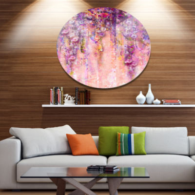 Designart Pink and Violet Flowers Watercolor DiscLarge Floral Metal Artwork