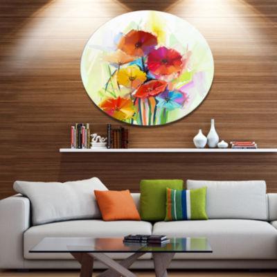 Designart Yellow and Red Gerbera Flowers Disc Large Floral Metal Artwork