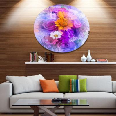 Designart Rose Daisy and Gerbera Flowers Disc Large Floral Metal Artwork