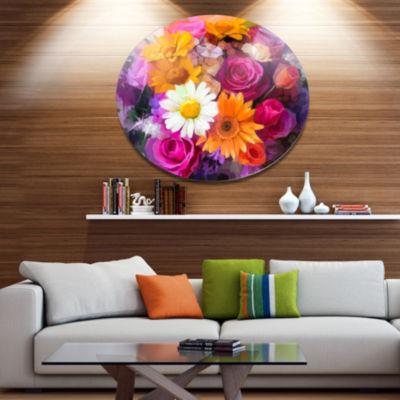 Designart Bouquet of Flowers Watercolor Disc LargeFloral Metal Artwork