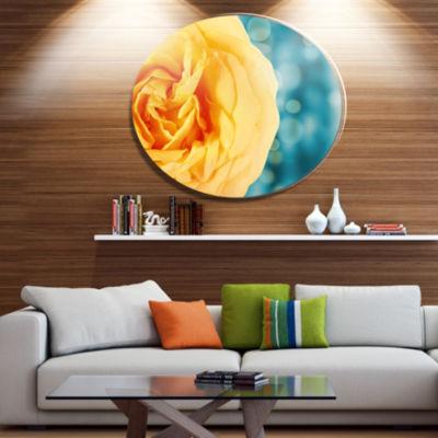 Designart Rose Flower with Lit up Background DiscLarge Floral Metal Artwork