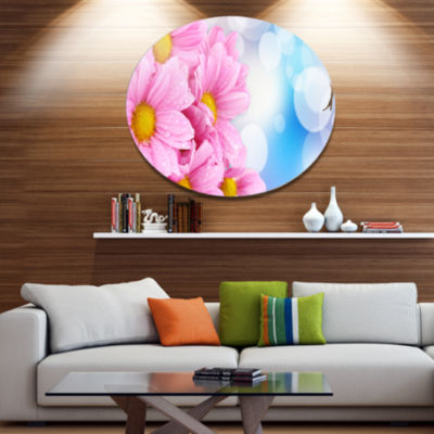 Designart Beautiful Pink Flower Bouquet Disc LargeFloral Metal Artwork