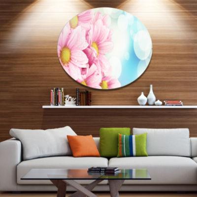 Designart Pink Flowers Bouquet on Blue Disc LargeFloral Metal Artwork